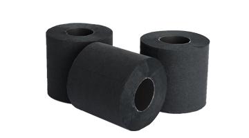 Zwart gekleurd toiletpapier